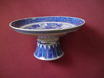 19th-20th Century Chinese blue and white ceramic Stem Dish / compote
