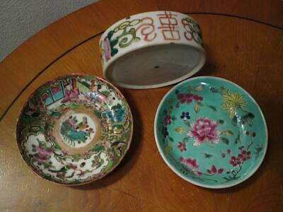Job lot 3 Chinese Famille Rose Porcelain Saucer and Stack Box Dish