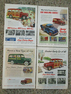 Four 1949 Jeep Willys Overland Station Wagon Sedan Truck Car Auto Automobile Ads