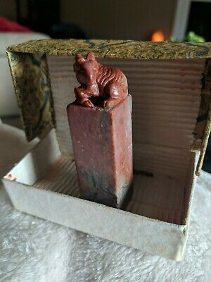 Hand Carved Vintage Chinese Ink Stone Stamp China Betty Rose