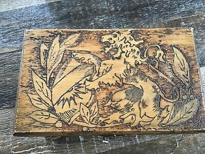 Antique Carved Wooden Box, Lions