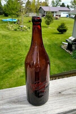 Nice Early Blob Top Amber Bosch Glass Beer Bottle Michigan!