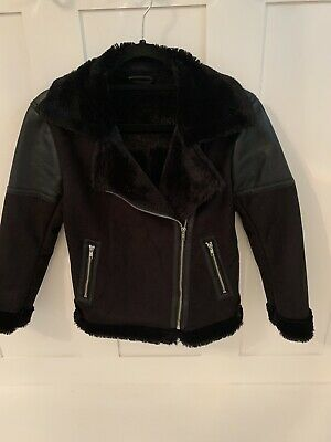 Girls NEXT Black Suede Like, Faux Leather And Fur Zipped Biker Jacket 11 Years
