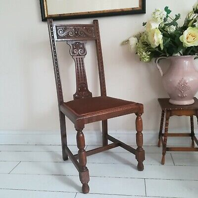 19th century English oak dining chairs beautifully carved back Jointed Supports