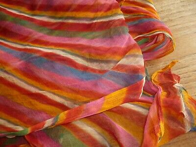 Antique Vintage Organza Fabric Multi Colour Rainbow Pink Red Yellow 7 Meters