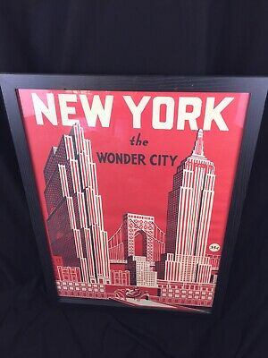 Framed Print New York Empire State Skyscrapers Art Deco Style
