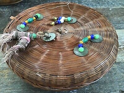 Vintage Antique Chinese Sewing Basket With Pekin Glass Beads  1920s China