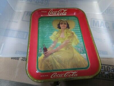 Vintage 1938 Coca Cola Metal Serving Tray Girl in Yellow Hat ~ Free Shipping