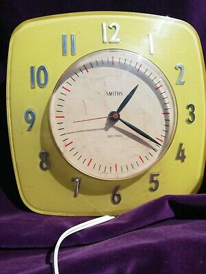 Smiths Sectric Bakelite Wall Clock Vintage Collectable Yellow Art Deco Retro