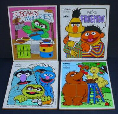 1970s PLAYSKOOL Wooden Puzzle Lot VINTAGE SESAME STREET MONSTERS ERNIE BERT BIG