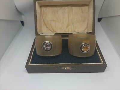 Antique horn napkin rings with solid silver shield & gem stones boxed
