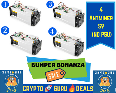 🍔 I'm lovin' it Deal 🍔 4 Qty Antminer S9 NO PSU 🚀 FREE SHIP📦 Not S17 M20 S19