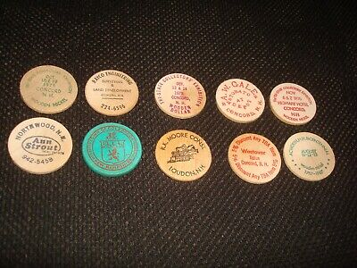 Lot Of 10 New Hampshire Wooden Nickels