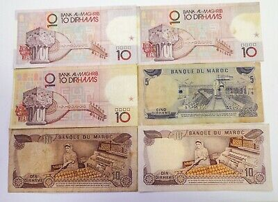 Morocco Lot of 6 Dirhams World Banknotes Various dates World Currency Bank