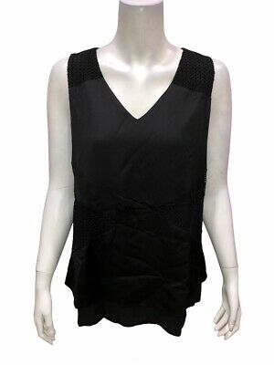 H by Halston Women's Sleeveless Patchwork Lace Woven Top Solid Black Size 12