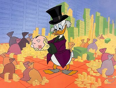 """Walt Disney SCROOGE MCDUCK """"Money in the Bank"""" 1997 Limited Edition Sericel"""