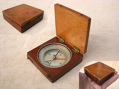 Antique mahogany cased compass with clinometer arm