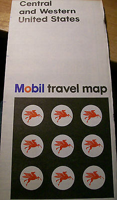 Vintage 1967 MOBIL OIL Co. Travel Map : CENTRAL & WESTERN UNITED STATES