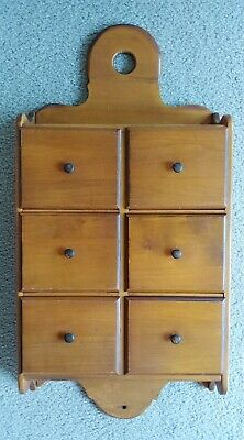 Vintage Wood Apothecary Spice 6 Drawer Wall Cabinet by R. Veal & Son