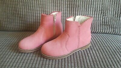 Brand New Next Girls Pink Scalloped Edge Suede Effect Zip Up Boots Size 10 Bnwot