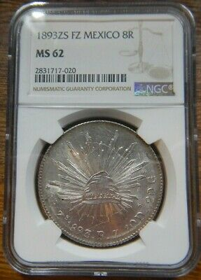 Mexico 8 Reales Certified NGC MS-62 Zs 1893 FZ  Zacatecas