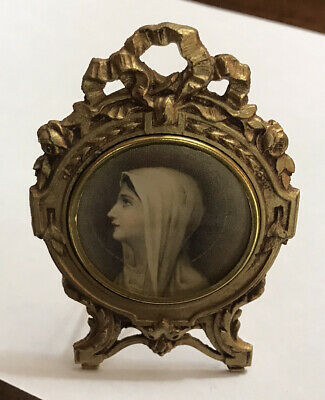 Vintage Ornate Brass Tone Déposé Picture Frame Stand Virgin Mary Made In France