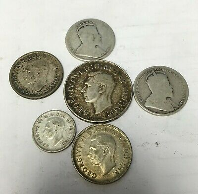 6 silver Canadian coins 1909 -1947