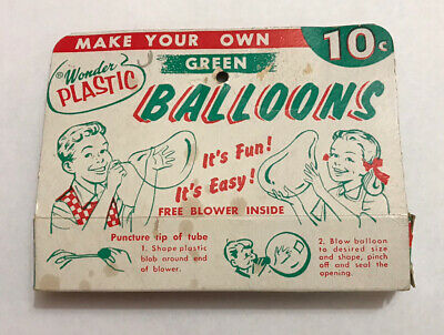 "Vintage Wonder Plastic ""Make Your Own Balloons"" Original Box Brian Toy Co Blow"
