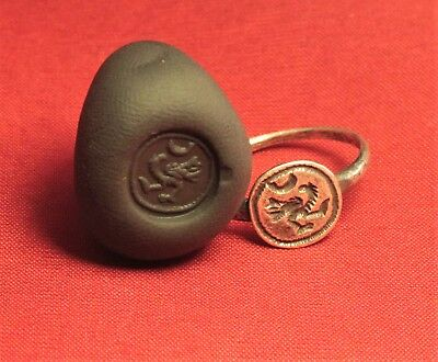 Fine Medieval Silver Knight's Seal Ring 12. Century - Bird Seal