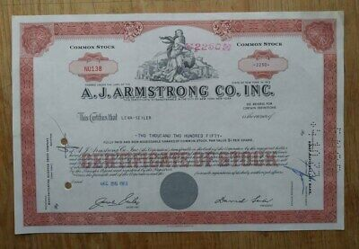 A.J. Armstrong Co. Inc. Stock Certificate from 1963 number NU138