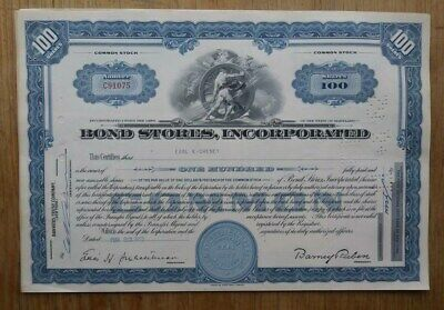 Bond Stores, Incorporated Stock Certificate from 1962 number C91075