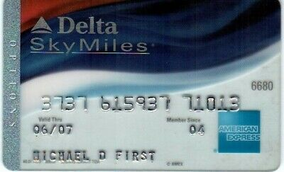 Expired in 03/2005 American Express Delta Options Credit Card Bank Used Old