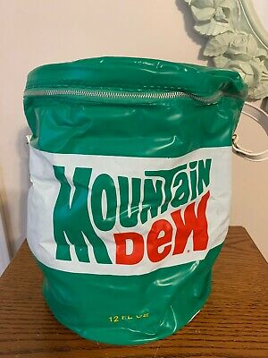 Vintage Mountain Dew Vinyl Can Cooler with Straps & Soda Can Shaped. Nice/Clean!