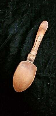 Antique Folk Art Hobo Art Hand Carved wooden spoon w/ hinge very rare