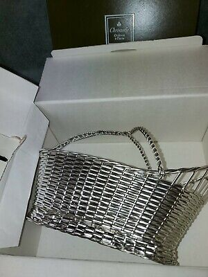 Christofle of France Silver Plated Woven Basket Wine Caddy