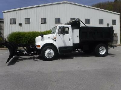 International 4700 Single Axle Dump Truck With Snow Plow And Stainless Spreader