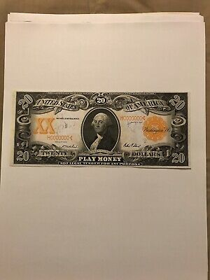 1906 $20 Washington Gold Certificate Play Note