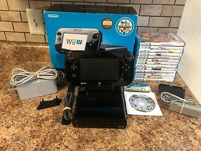Nintendo Wii U WUP-101 32GB Console Deluxe Box Set W/ 14 Games & Gamepad - Black
