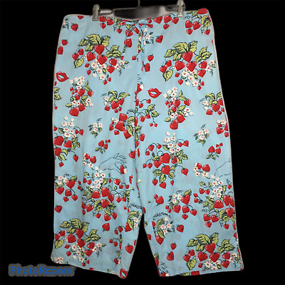 Nick & Nora Capri Pajama Lounge Pants Strawberry Hearts Kisses Womens L Cotton