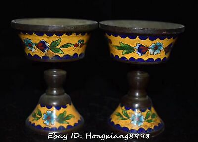 Old China Cloisonne Enamel Bronze Flower Candlestick Candle Stick Oil Lamp Pair