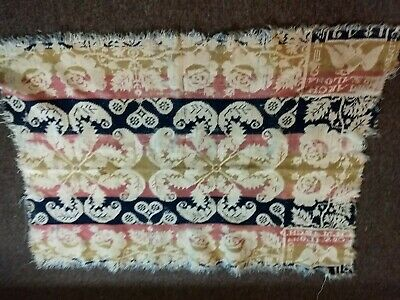 Antique  Homespun Coverlet Clinton Co. Pa.  March 1842  Remnant 24 X 32 Fringed