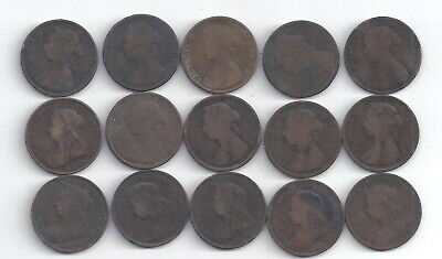 British UK Half  Penny 15 Coin Lot all different  dates Victoria only