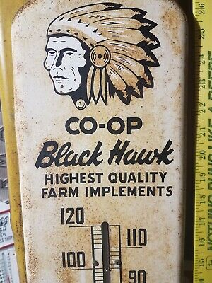 CO-OP BLACK HAWK FARM IMPLEMENTS advertising thermometer Metal Sign Tractor barn
