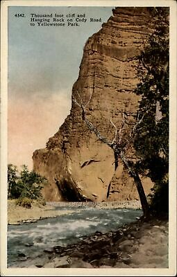 Hanging Rock Cody Road Yellowstone Natl Park Wyoming ~ 1920s vintage postcard