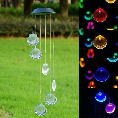 New Products Solar Color Changing Wind Chimes Big Shell Colorful Lights Led F6X7