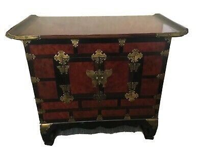 Vintage Chinese Butterfly Coffer Asian Alter Cabinet