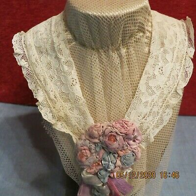 Antique  Fine  Val+Alecon  Lace Hand Made Flower Silk Velvet  Antique  Dolls Pm
