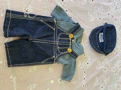 vintage buddy lee blue denim overalls with lee buttons and lee hat