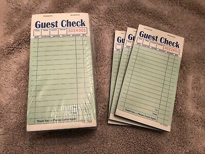 Lot of 10 2-Part Guest Check Carbon Restaurant Receipt Sales Order CT-G7000 + 3