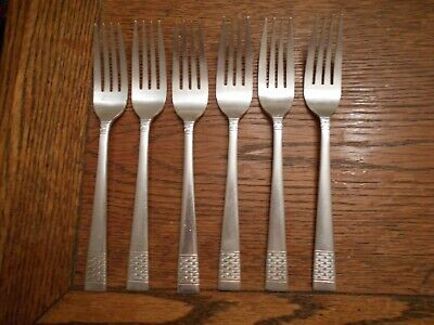 6 National Silver Co 1946 CAVALCADE Pattern Dinner Forks Silverplate Flatware